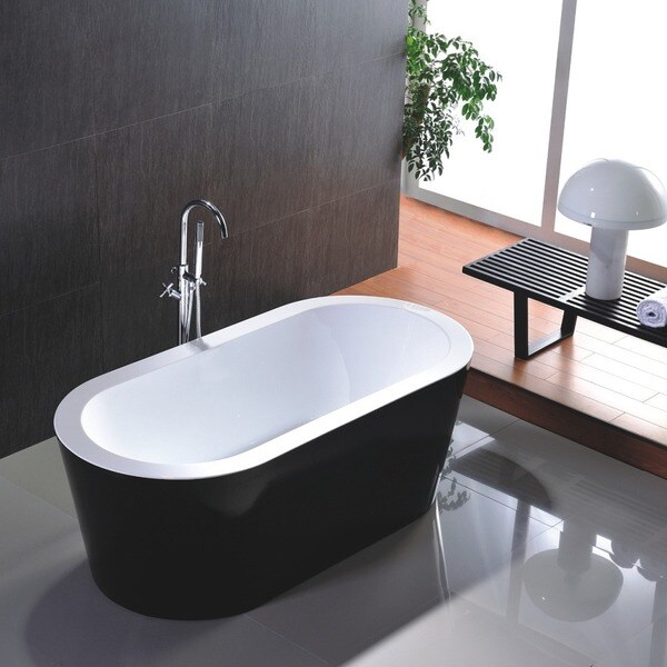 Freestanding 67 Inch White And Black Acrylic Bathtub