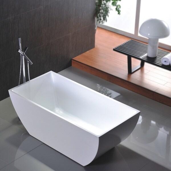 Freestanding 67 Inch White Acrylic Bathtub 16364927