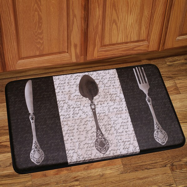 Memory Foam French Utensils Design Kitchen Floor Mat