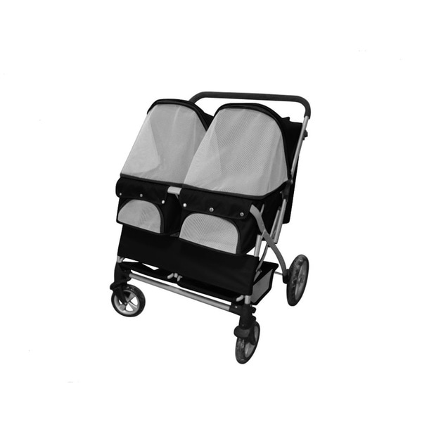 Black Twin Heavy Duty Side-by-Side Double Pet Stroller ...