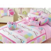 Cozy Line Pink Owl Cotton 3-piece Quilt Set