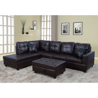 Fine Sale Delma 3 Pc Faux Leather Left Chaise Sectional Set Gmtry Best Dining Table And Chair Ideas Images Gmtryco