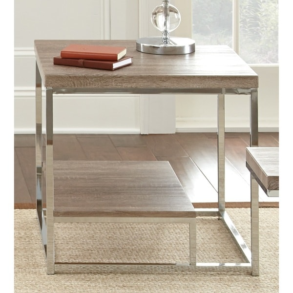 Lennox Chrome And Faux Wood End Table Console Decor Home