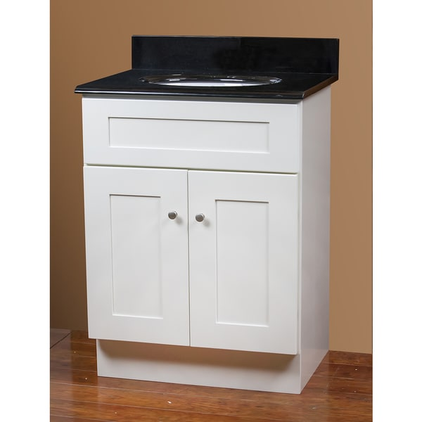 White vanity and black granite top 24 inch x 18 inch - White bathroom vanity with black top ...