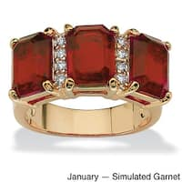 Goldplated Birthstone And Cubic Zirconia Ring