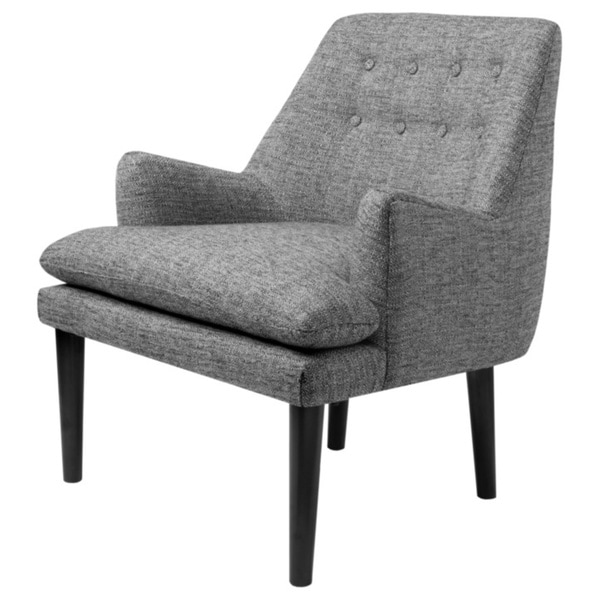 Overstuffed Living Room Chairs: Taylor Grey Tufted-Back Accent Chair