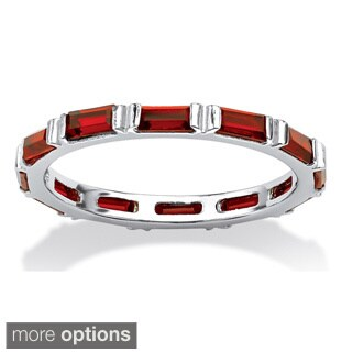 Baguette Birthstone Stackable Eternity Band in .925 Sterling Silver Color Fun