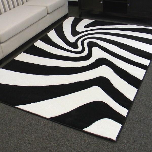 Hollywood Design 287 Black Zebra Skin Pattern Area Rug