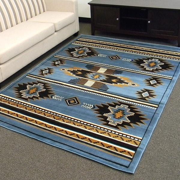 Donnieann Tajmahal Blue Southwestern Design Area Rug 5 X7