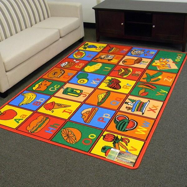 Paradise Multi-color Alphabet Food Design Area Rug (5x7