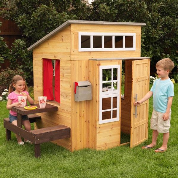 KidKraft Modern Outdoor Playhouse in Honey