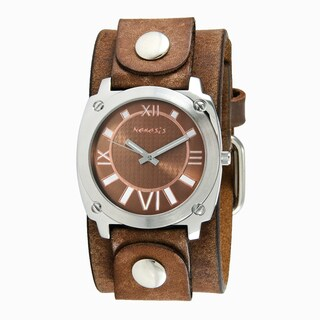Nemesis Men's Brown Roman Numerals Watch with Brown Leather Cuff Band
