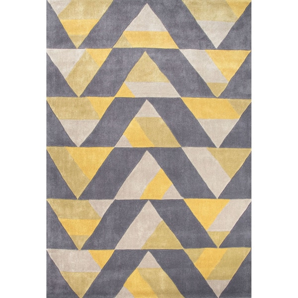 Hand Tufted Geometric Pattern Gold/ Grey Polyester Area