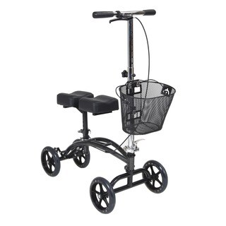 Drive Medical Dual Pad Steerable Knee Walker Knee Scooter with Basket, Alternative to Crutches - silver
