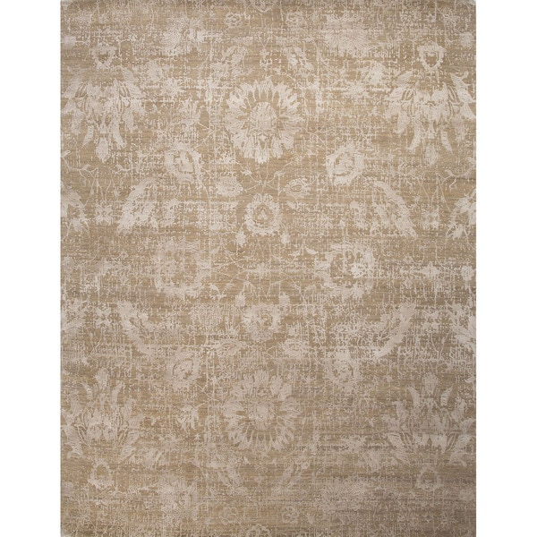 Hand Knotted Floral Pattern Grey Wool/ Art Silk Area Rug