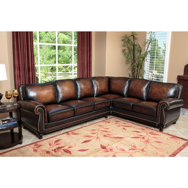 Top Grain Leather Sofa Costco: ABBYSON LIVING Palermo Woodtrim Top Grain Leather
