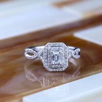 Auriya 14k  Gold 4/5ct TDW Emerald-Cut Double Halo Diamond Engagement Ring - White H-I