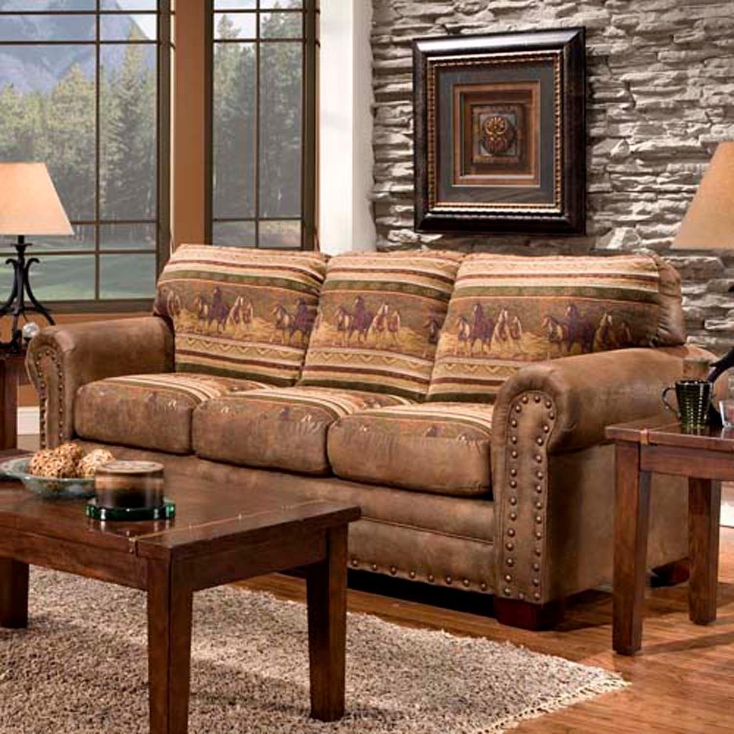 Country Leather Sofa: Wild Horses Sofa Couch Cabin Western Style Lodge Rustic
