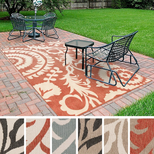 Contemporary Outdoor Area Rugs: Meticulously Woven Nina Contemporary Floral Indoor/Outdoor