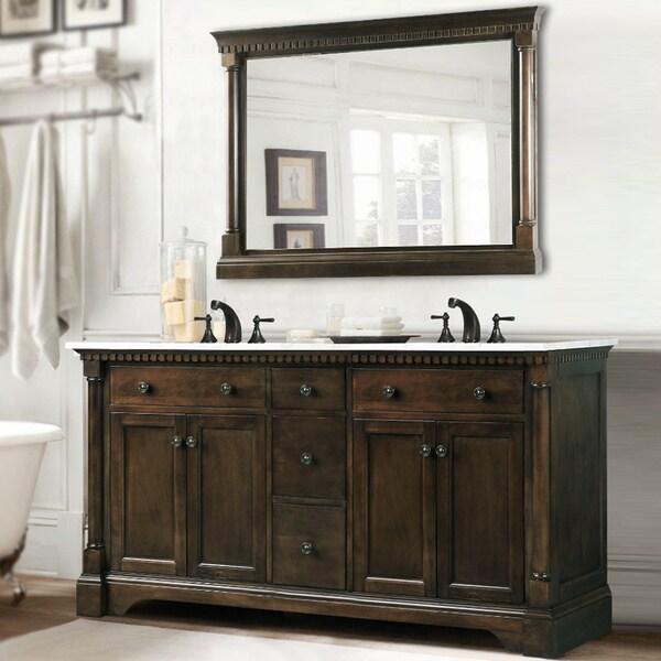 Carrara Marble 60 Inch Double Sink Vanity In Coffee Bean