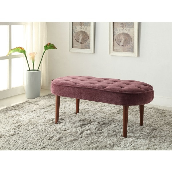 Tribecca Home Tufted Button Back Peat Microfiber Side: Oh! Home Graceful Oval Seat Bench In Violet Microfiber
