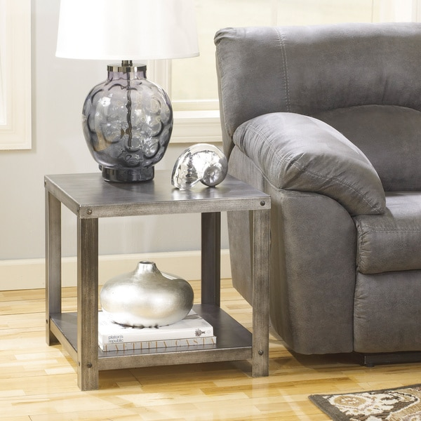 Signature Designs By Ashley Rollins Square End Table: Signature Design By Ashley Hattney Metal Square End Table