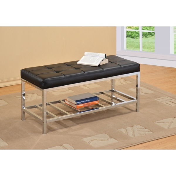 Black Tufted Leather Chrome Frame Bench Coffee Table
