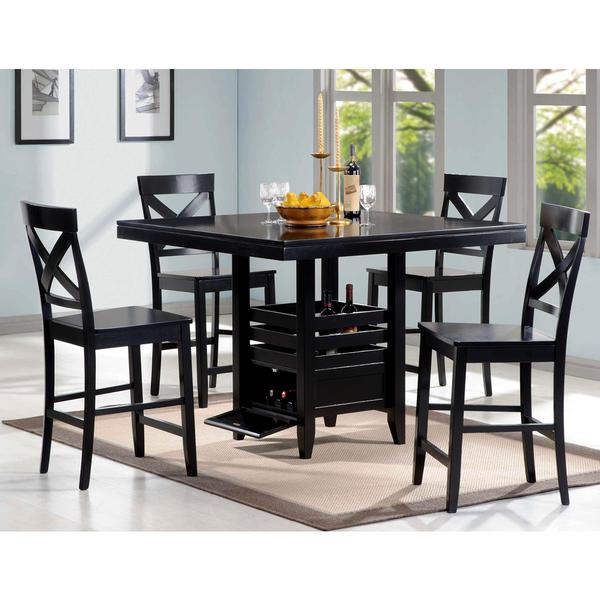 Dark Wood Dining Sets: Black Wood 5-piece Counter-height Dining Set