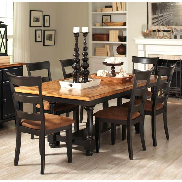 Dining Sets Black: Denmark Classic Distressed Black 7-piece Dining Set