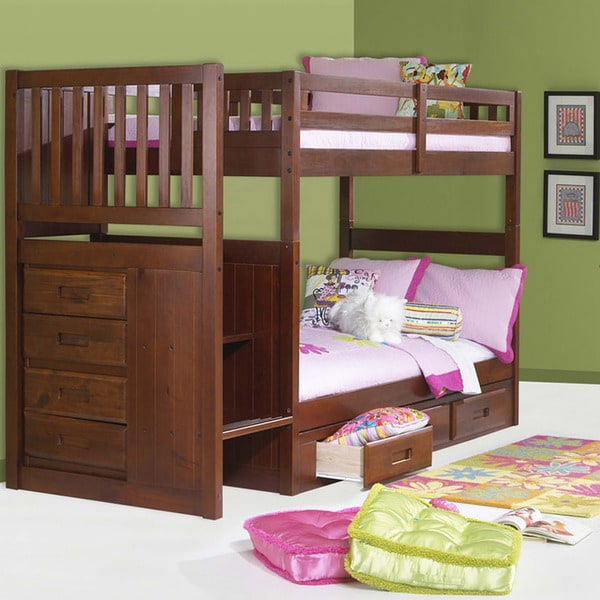 Bed Over Stair Box Google Search: Mission Staircase Twin-over-Twin Bunk With 4-drawer Chest