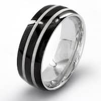 Black Plated Stainless Steel Men's Etched Double Striped Ring