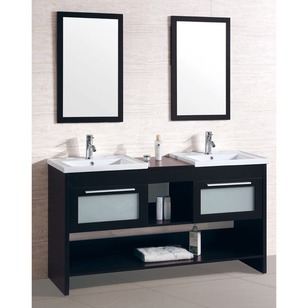 Double Sink Bathroom Vanity With Dual Matching Wall