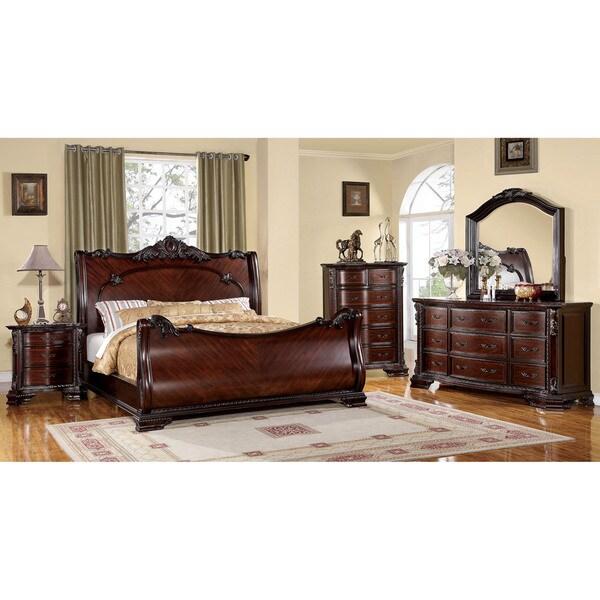 Overstock Com Bedroom Furniture: Furniture Of America Luxury Brown Cherry 4-Piece Baroque