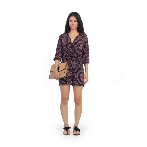 ca81748f3cfd ... Xhilaration (Juniorsu0026 39 ) Target. Hadari Juniors Medallion Print  V-neck Long Sleeve Romper - Overstock Shopping - The Best