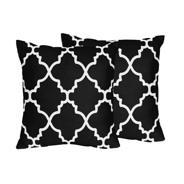 sweet jojo designs trellis collection black and white lattice print throw pillows set of 2. Black Bedroom Furniture Sets. Home Design Ideas