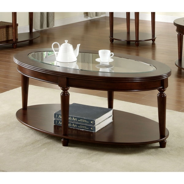 Furniture Of America Crescent Dark Cherry Glass Top Oval