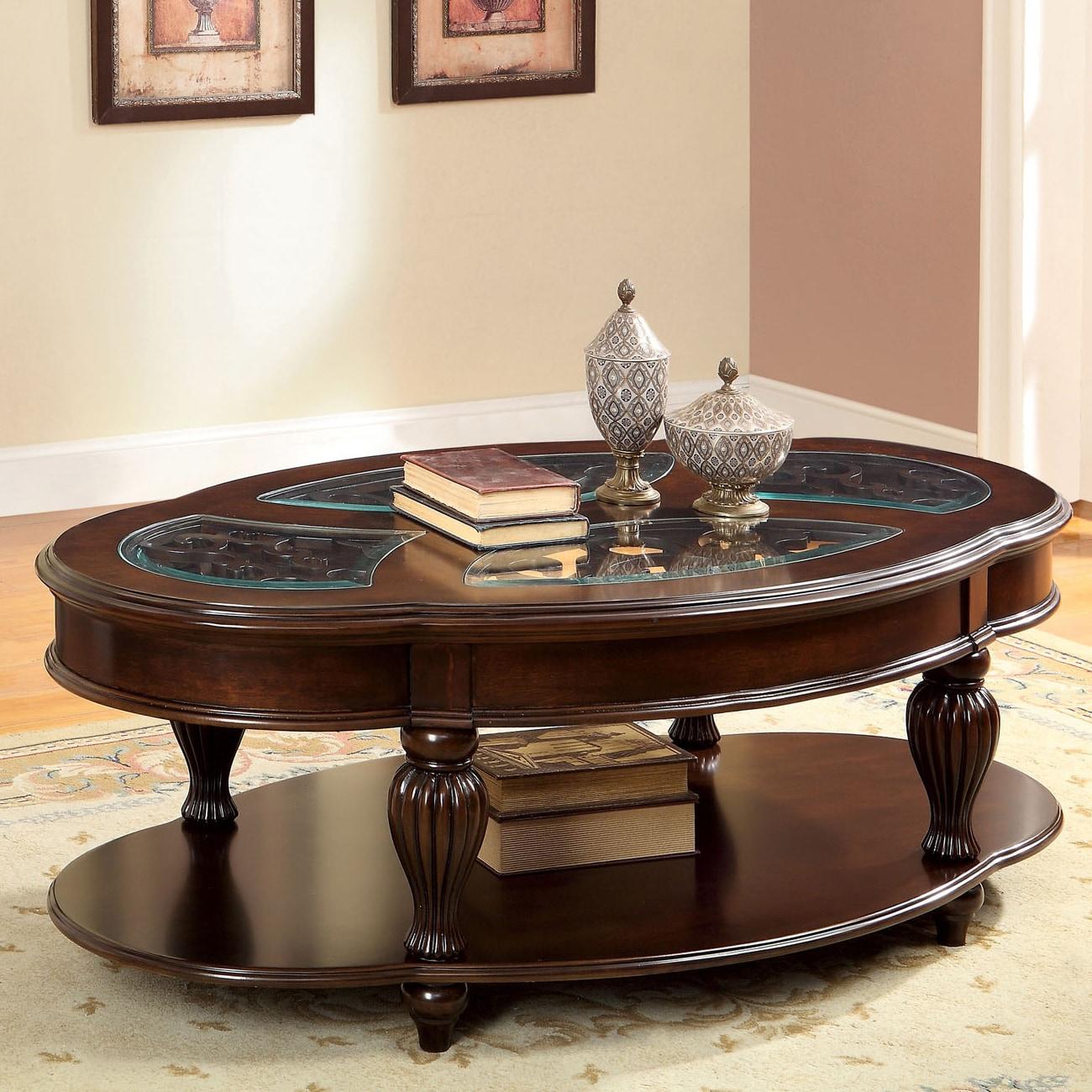 Furniture Of America Zerathe Dark Cherry And Glass Top