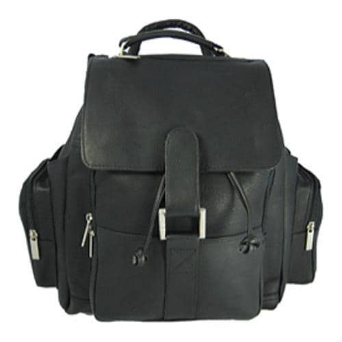 David King Leather 330 Top Handle XL Backpack Black