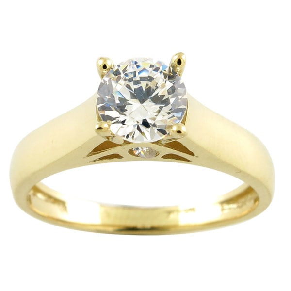 10k Yellow Gold Round Cubic Zirconia Solitaire Engagement