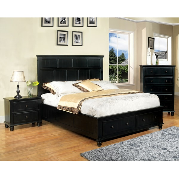 Transitional Style Bedroom Furniture: Furniture Of America Transitional 3-piece Black Cottage