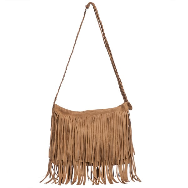Faux Suede Layered Fringe Shoulder Bag
