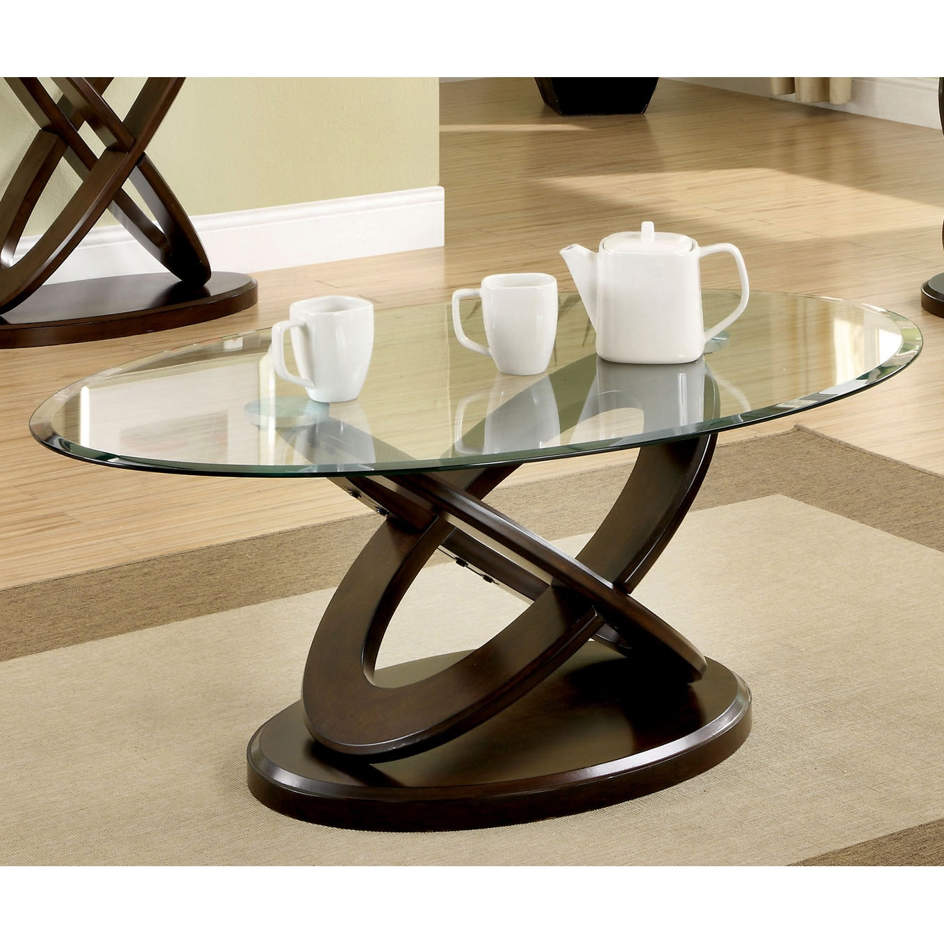 Best Furniture Online Shopping: Furniture Of America Evalline Oval Glass Top Coffee Table