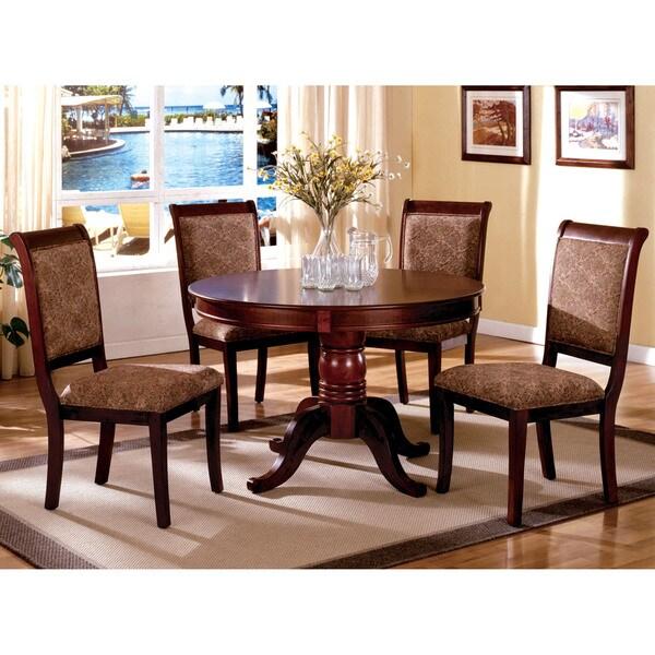 Cherry Dining Set: Furniture Of America Ravena Antique Cherry 5-Piece Round