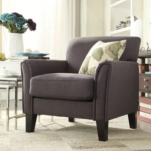 INSPIRE Q Uptown Modern Dark Grey Linen Accent Arm Chair