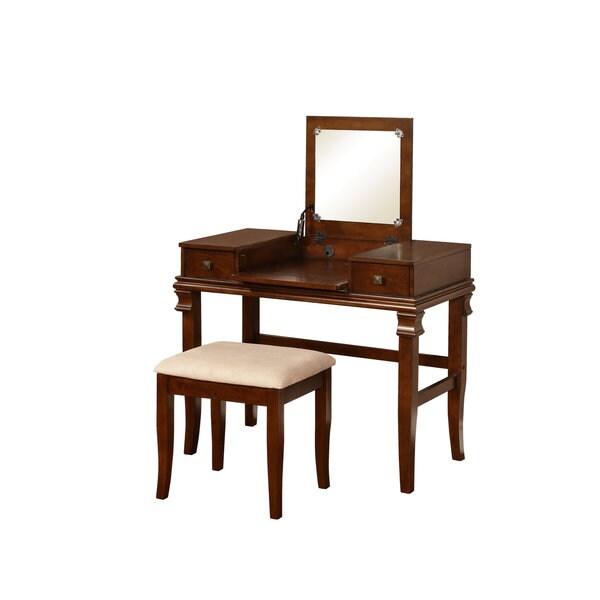 Linon Angela Walnut Vanity Set