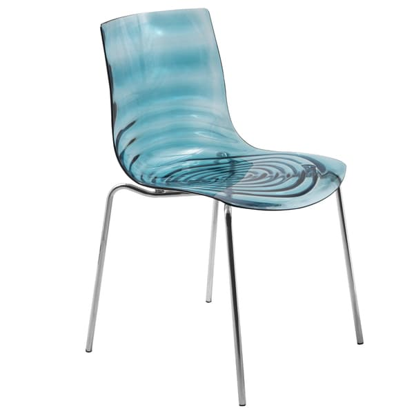Dining Chairs Deals: Astor Polycarbonate Modern Transparent Blue Dining Chair