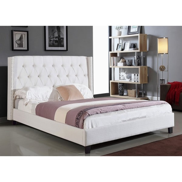 white wingback bed full size upholstered button tufted headboard furniture nail ebay. Black Bedroom Furniture Sets. Home Design Ideas