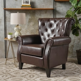 Christopher Knight Home Tafton Tufted Brown Leather Club