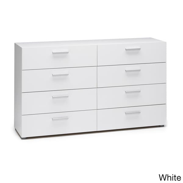 Austin space saving foiled surface 8 drawer double dresser - Shallow dressers for small spaces ...