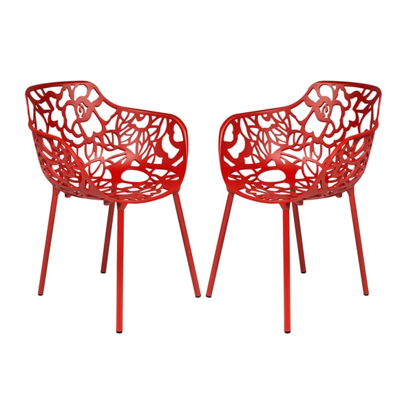 Leisuremod Devon Modern Red Aluminum Chair Outdoor Chair